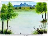 支援室に通う学生の書いてくれた絵です。キレイな自然の絵、癒されます。